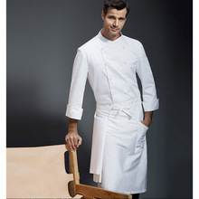 Chef Serving Long Sleeve Winter Jacket Bakery Kitchen Apparel Hotel Kitchen Chef Chef Workwear White Cotton apron(China)
