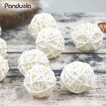 20pcs/lot 3cm White and Coffee Photography Photo Props Accessories 3cm Small Sepak Takraw Ball Round rattan Ball Decoration(China)