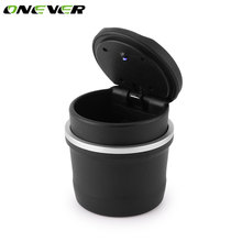 Onever Portable LED Ashtray For Car Black Ashtrays With Lids Cylinder Cigarette Ashtray With Detachable Storage Box For BMW Ford(China)