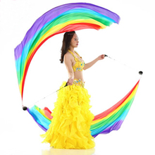 New Belly Dance Silk Veil Poi Streamer 1pair= 2pcs silk veil + 2pcs poi chain ball free-shipping S/M/L/XL(China)
