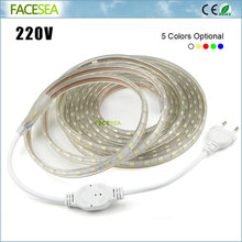 AC 220V Led strip 5050 SMD flexible Light Waterproof 1m ~ 100m Led tape outdoor High Bright Ceiling Multicolour Band Lines Lamp