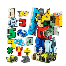 15Pcs Creative Blocks Assembling Educational Blocks Action Figure Transformer Number Robot Deformation Robot Toys For Children(China)