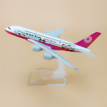 16cm TaiWan EVA Air Pink Hello Kitty Airlines Airbus 380 A380 Airways Plane Model Metal Airplane Model w Stand Craft