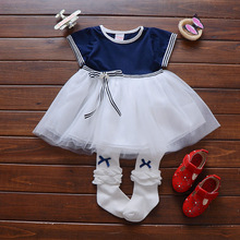 Summer New baby children's Dress  female baby Navy Wind dresses  1-2-3 year old 684