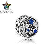 Buy Starland Fine 100% 925 Sterling Silver Nostalgic Star Clear CZ Blue Enamel Beads Charms Bracelet Women Jewelry DIY Accessories for $6.23 in AliExpress store