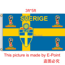 2018 Russia Football World Cup Sweden National Team 3ft*5ft (90*150cm) Size Decoration Flag Banner