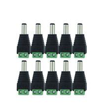 10 Pcs 12V 2.1 x 5.5mm DC Power Male Plug Jack Adapter Connector Plug for CCTV single color LED Light(China)