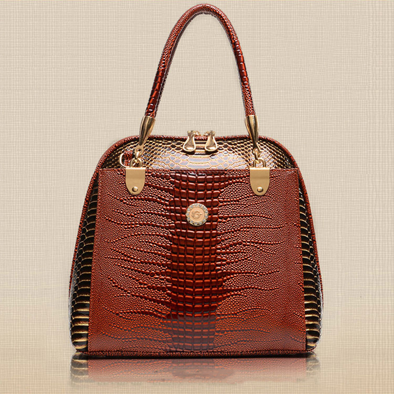 2018 women Alligator leather handbag PU leather women handbag british style shoulder bag crossbody women tote bags W0136<br>