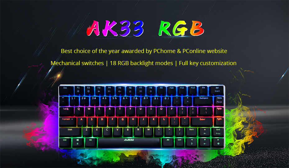 Ajazz AK33 gaming keyboard 82 keys RussianEnglish RGB backlight ergonomic wiredwireless mechanical keyboard conflict-free  (1)