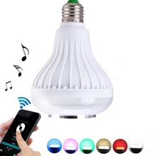 Wireless Bluetooth Speaker 12W RGB Bulb E27 LED Lamp 100-240V Smart Led Light Music Player Stereo Audio Speaker RGB Color Lights(China)
