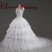 2017 Vestido De Noiva Wedding Dress Real Image Rhinestone Beaded Lace Appliques Sweetheart Neckline Layers Tulle Bridal Gowns(China)