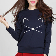 new autumn winter casual sweatshirt for women high quality kitty kawaii warm cute hoodies fashion pullover sweatshirts 4 colors