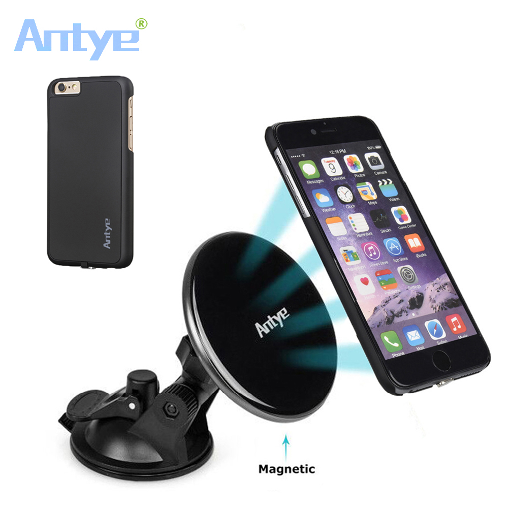 Antye Qi Wireless Receiver Case and Qi Wireless Magnetic Car Charger Mount Holder for iphone6 6s/6plus 6s plus(China)