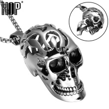 HIP Titanium Stainless Steel Charm Skeleton Skull Head Pendant & Necklaces for Men Jewelry(China)