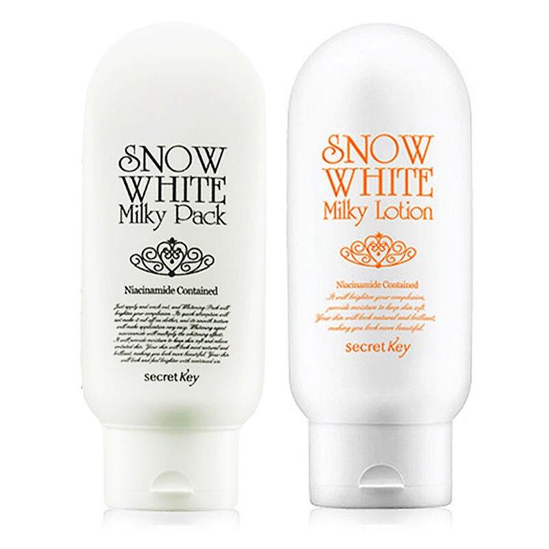 SECRET KEY Snow White Milky Pack 200ml + Snow White Milky Lotion 120g Whitening Moisturizing Cream Skin Care Set Korean Cosmetic<br>