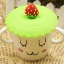 New Lovely Silicone Fruit Cup Cover Coffee Cup Cover Leakproof Lid Cap Suction Airtight Sealed Creative Lemon Pattern