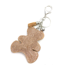 2015 Fashion Jewelry Cute Women Key Chain key Cover Rhinestone Inlaid Leather tassel Bear Key Cap Gift 10 Colors wholesale