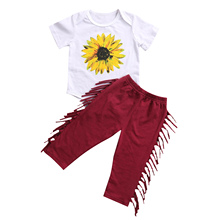 2pcs Newborn Baby Boys Girl Clothes Set Cotton Short Sleeve Sunflower Romper Tops Red Wine Tassels Pants Outfits Casual Clothing