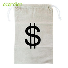 organizer Storage bag Large Canvas Money Bag Pouch with Drawstring Closure and Dollar Sign Design u71023(China)