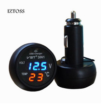 IZTOSS 3 in 1 Digital LED car Voltmeter Thermometer Auto Car USB Charger 12V/24V Temperature Meter Voltmeter Cigarette Lighter