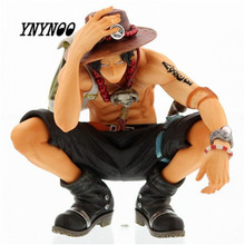 YNYNOO Japan Anime Figurines One Piece Mera Mera no Mi Ace PVC Action Figure Assembled Squatting Posture Ace Model Brinque Toys