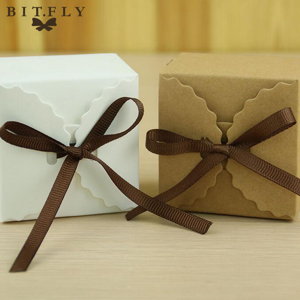 50pcs Romantic Wedding favors Decor Butterfly DIY Candy Cookie Kraft Paper Gift Boxes Wedding Party Candy Box with Ribbon(China)