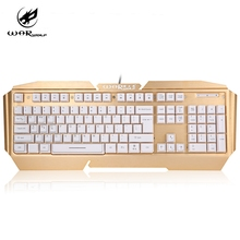 Warwolf K5 USB Wired Mechanical Gaming Game Keyboard with 7 Color LED Backlight 104 Keys Alloy 1.4M Cable For PC Laptop