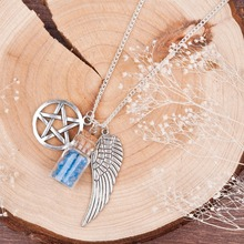 DoreenBeads Handmade Movie Supernatural Pentacle Angel Wings Wishing Bottle Guardian Series silver color Necklace Jewelry(China)