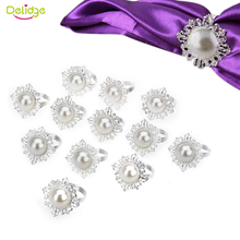 Delidge 12pcs/set Pearl Napkin Ring Plastic  Luxury Rhinestone Napkin Rings for Weddings Party Decorations Table Decoration