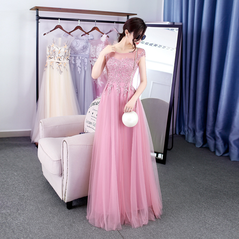EXNY Pink Sleeveless Backless Sexy Prom Dresses Floor Length Lace Appliques Sequins Beaded Party Dress Gowns