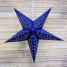 (1pc only) 30cm=12inch Blue DIY Star Paper Lantern Lamps Hanging Patriotic bbq Winter Holiday Party Decorations