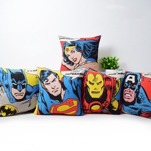 Buy POP Art Superheroes Sofa Throw Cushion Cover Justice League Wonder Woman Batman Superman Ironman Captain America Pillow Cases for $4.59 in AliExpress store