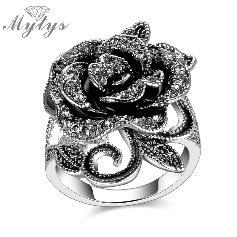 Mytys Crystal Silver Flower Buttefly Rings Black Pearl Enamel Rings Costume Jewelry Ring for Women