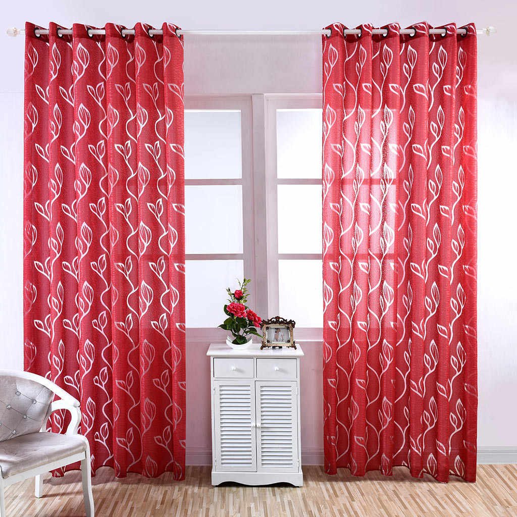 1Pc 3D Leaf Curtain Window Tulle Window Treatment Voile Drape Living Room Curtain Sheer Scarf Valances Home Textile Decoration