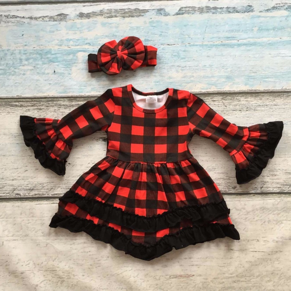 girls baby kids clothing cotton Spring Winter red black plaid ruffles dress boutique flare sleeve party princess matching bow <br><br>Aliexpress