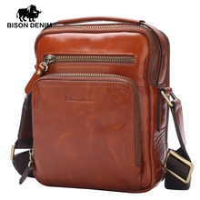 BISON DENIM Genuine Leather Ipad Bag top-handle Men Bags Shoulder Crossbody Bags Messenger Vintage Casual Handbags W2333(China)