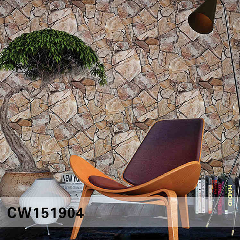 Vintage 3D Stone Wallpaper Roll PVC Wall Paper for Living Room,Embossed Stone Wallpaper for Walls Wall Decorative for Bar <br>