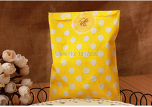 yellow with white polka dots Craft Paper Popcorn Bags Food Safe sandwich bags Wedding Party Favor Paper bags candy Gift Bag50pcs