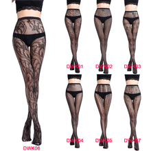 Buy Hot Sale Black Lace Women Sexy Stockings Fishnet Pantyhose Mesh Long Stockings Erotic Lingerie Skin Thigh High Stocking DWK01-07