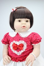 lifelike reborn toddler doll soft silicone vinyl real gentle touch 28inches short wig doll