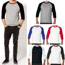 Men 3/4 Sleeve Plain T-Shirt Baseball Raglan Jersey Spo rts Fashion Casual Tee(China)