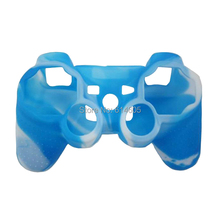 Blue Camouflage Silicone Skin Case Cover for Sony PS2/3 Wireless/Wired Controller(China)