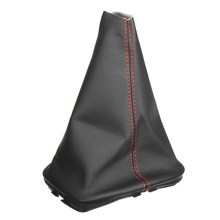 PU Leather Black Auto Gearshift Lever Gaiter Dust Cover Red Stitching For VW GOLF BORA