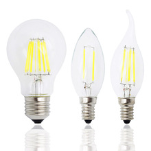 Retro 2W 4W 6W 8W Dimmable Led Filament Light Bulb E27 E14 Candle Lamp COB 220V 230V replace 20w 40w 60w 80w halogen bulbs(China)