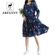 ARFANNY  dresses 2017 spring new women. Forest art leaves floral loose large size cotton dress. Small flower belt clothing