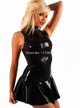 Plus Size 5XL 4XL Hot Selling Sexy PVC Clubwear Gothic Wetlook Dress Zip Front Leather Dress Sexy Clothes Free Ship