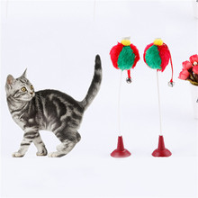 Pets Cat Stick Toys Sucker Ball Cat Rod For Cat Catcher Teaser Toy Pet Kitten Jumping Trainning Toys with Bells Drop shipping