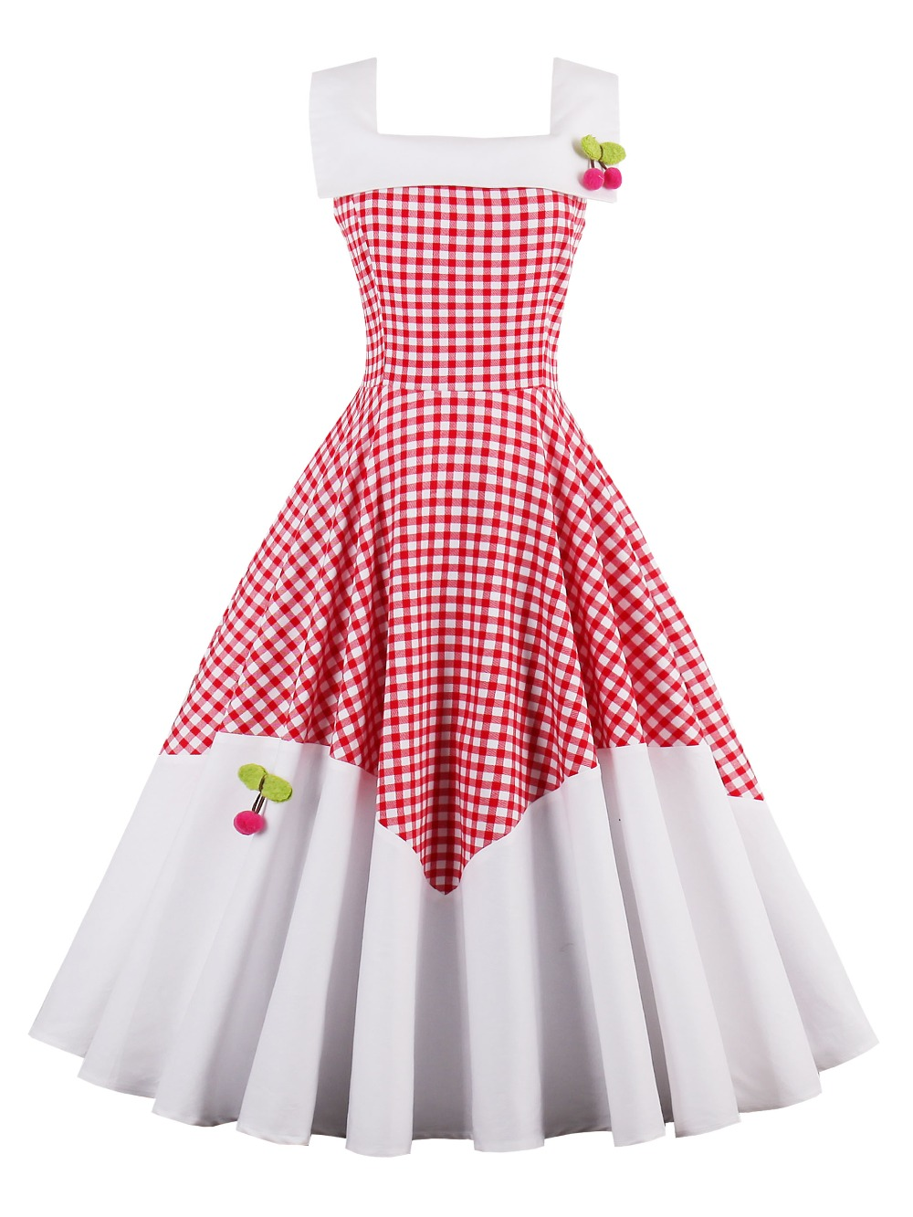 2018 summer dress Female Square Collar White Red Plaid Sleeveless Dresses A-Line Female Appliquest Girls Dress