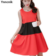 Ynncnik 2017 Summer Loose Dress For Wo,em Sleeveless Black Red Patchwork Dresses Casual Large Size Vestidos DR1009