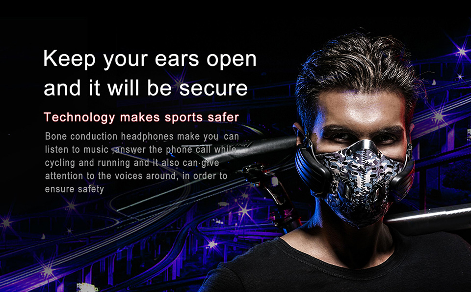 Vchicsoar SK9 Bone Conduction Masks Bluetooth Headset Wireless Outdoor Riding Dust-Proof Headphones Hands-free Stereo with Mic